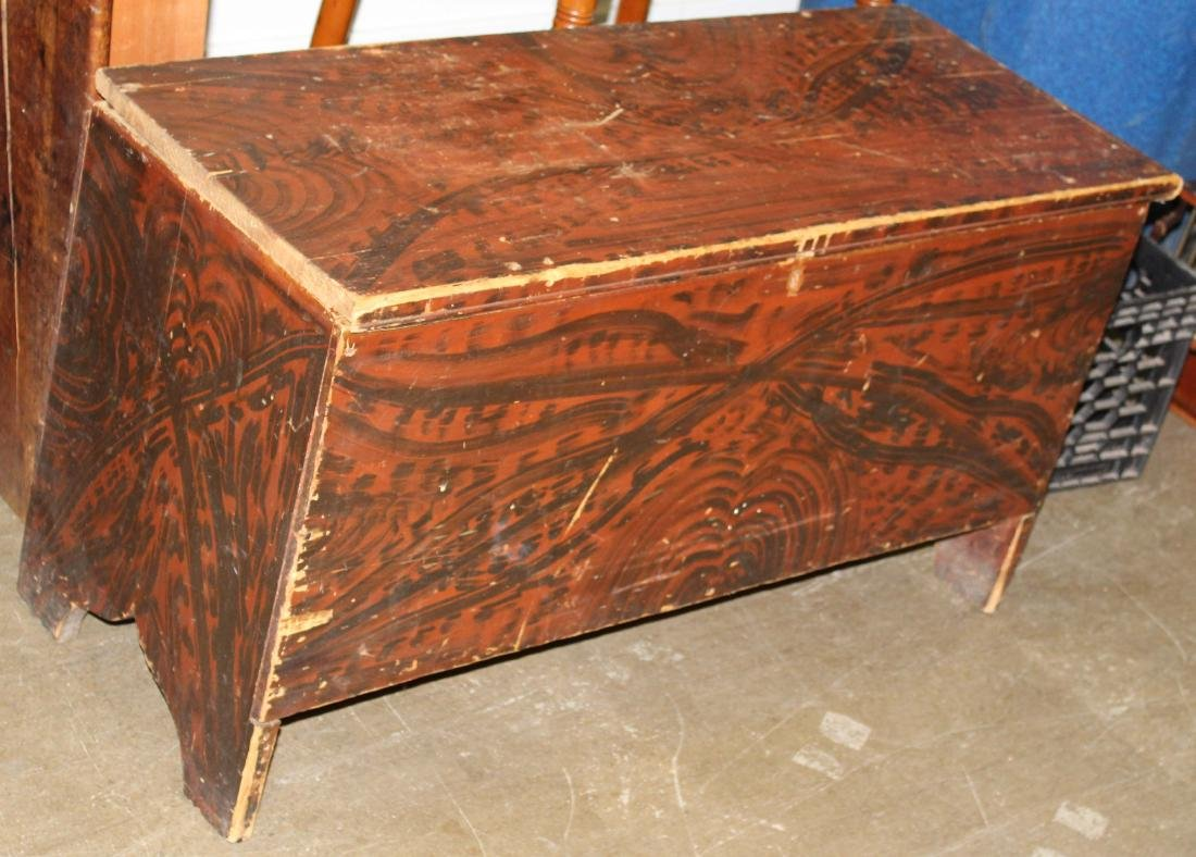 early 19th c grain painted 2 drawer blanket chest