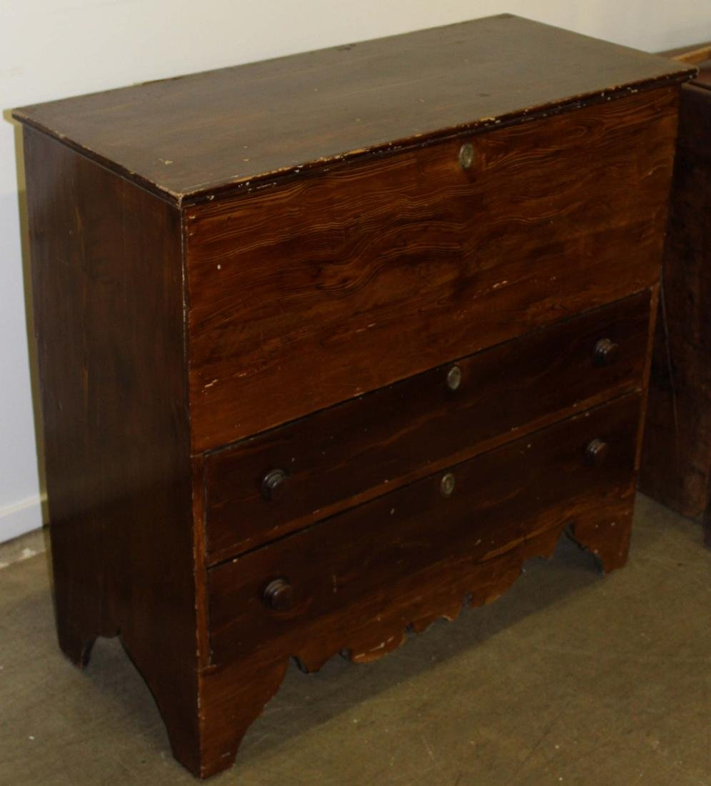 early 19th c grain painted pine blanket box