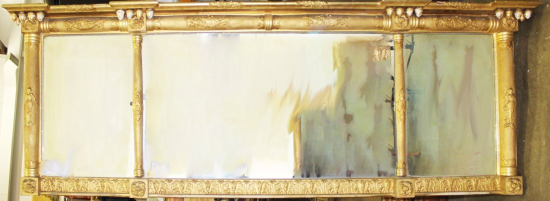 Gilt Sheraton over mantle mirror