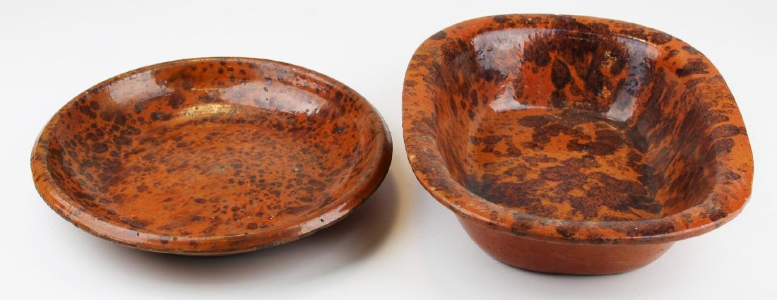 early 19th c redware trencher & bowl