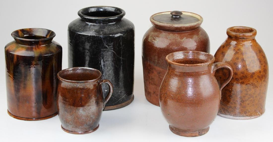 six early 19th c redware jars