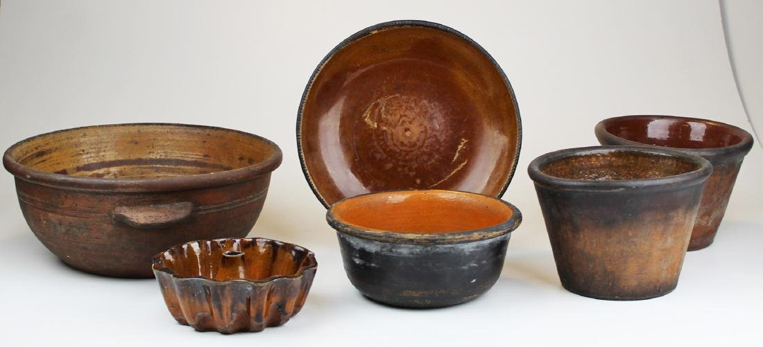 six pieces of early redware