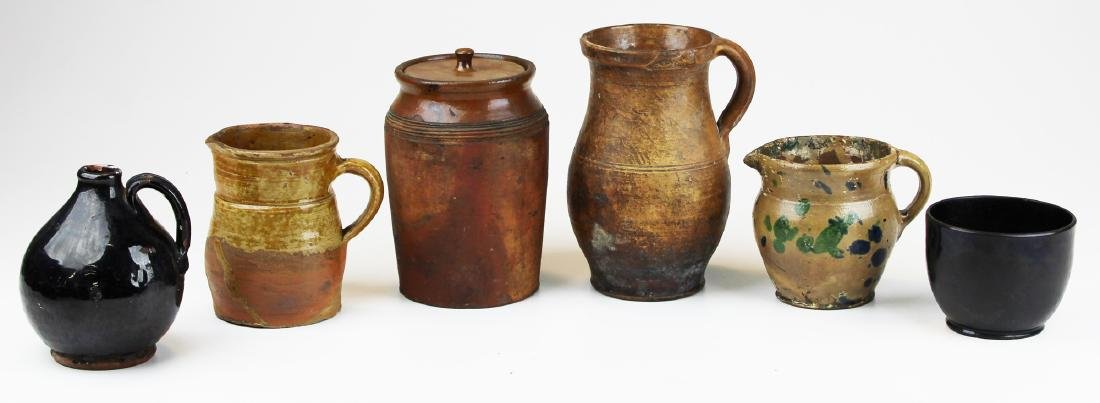 six small pieces of early redware & stoneware