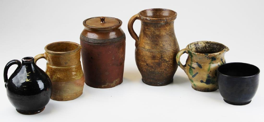 six small pieces of early redware & stoneware - 2