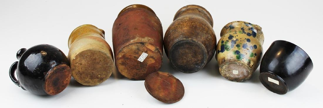 six small pieces of early redware & stoneware - 3