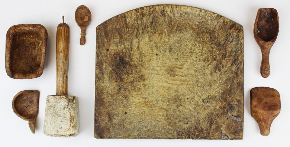 late 18th- early 19th c burl kitchenware