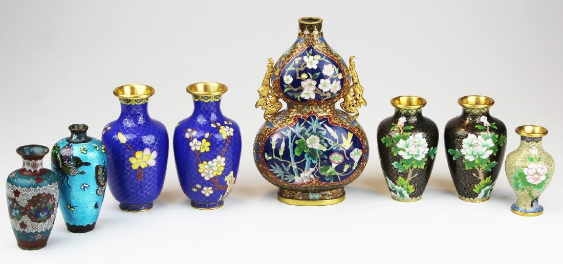 8 Cloisonné Chinese vases