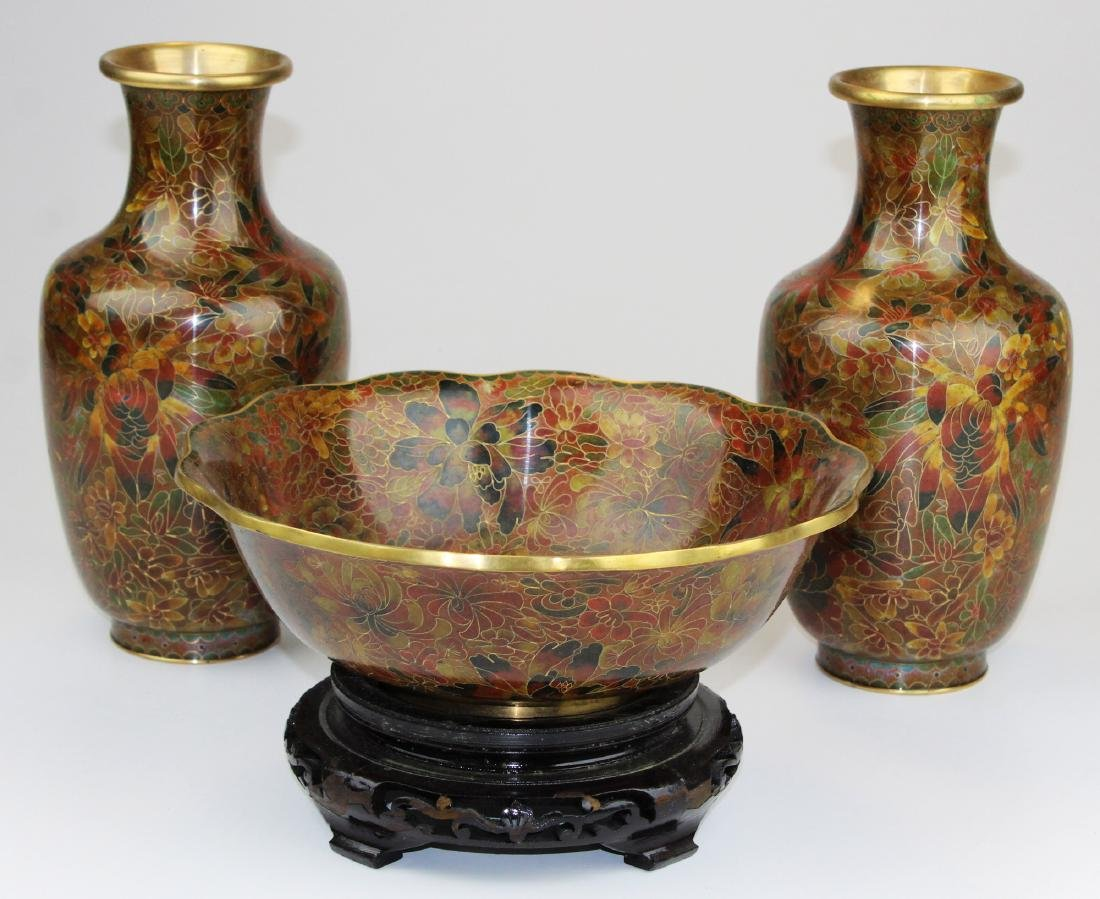 Bowl & pair of Chinese cloisonné vases