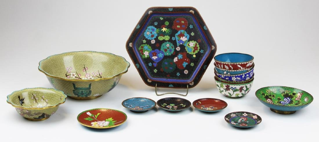 14 Chinese cloisonné bowls & dishes.