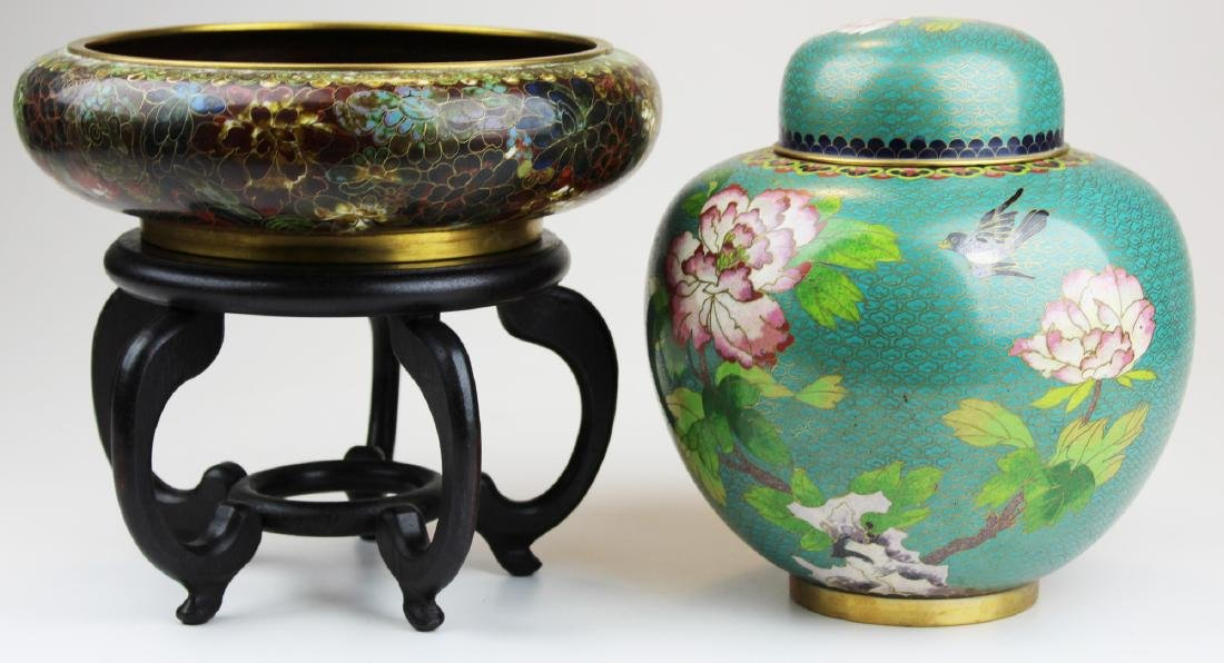 Chinese cloisonné ginger jar & low open bowl