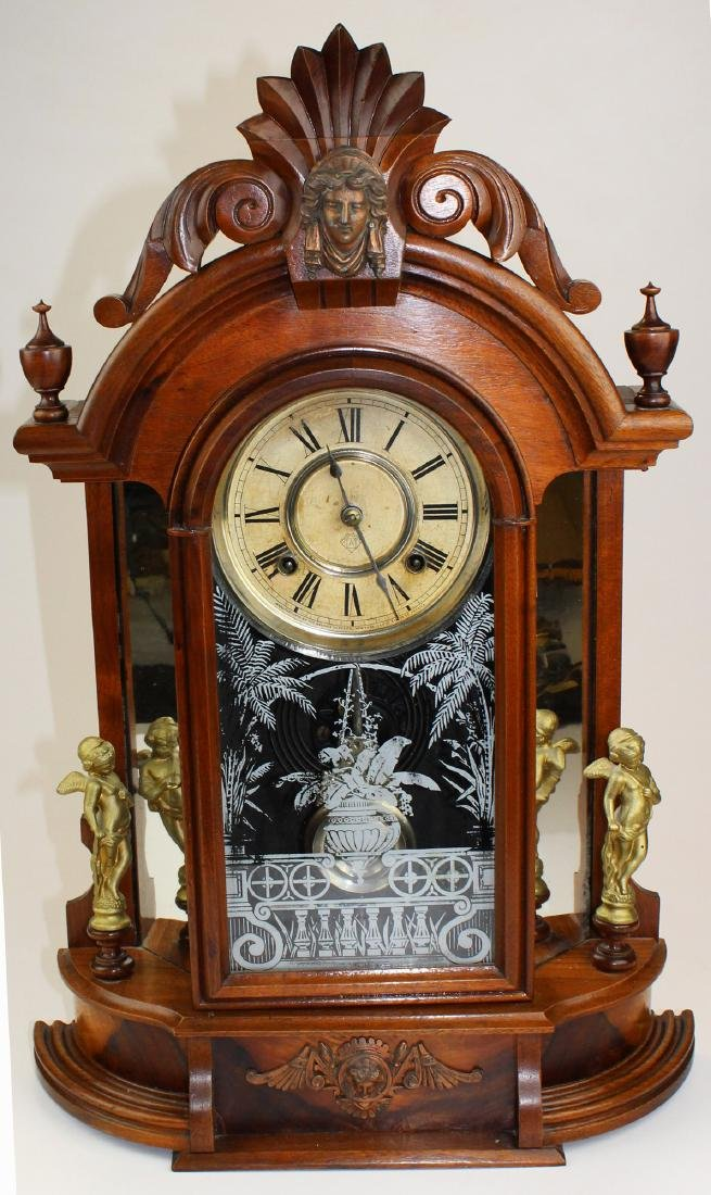 late 19th c Ansonia shelf clock with figures