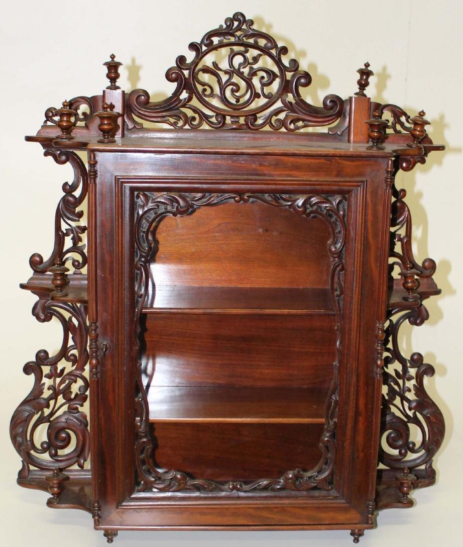 ornate Victorian mahogany curio wall cabinet