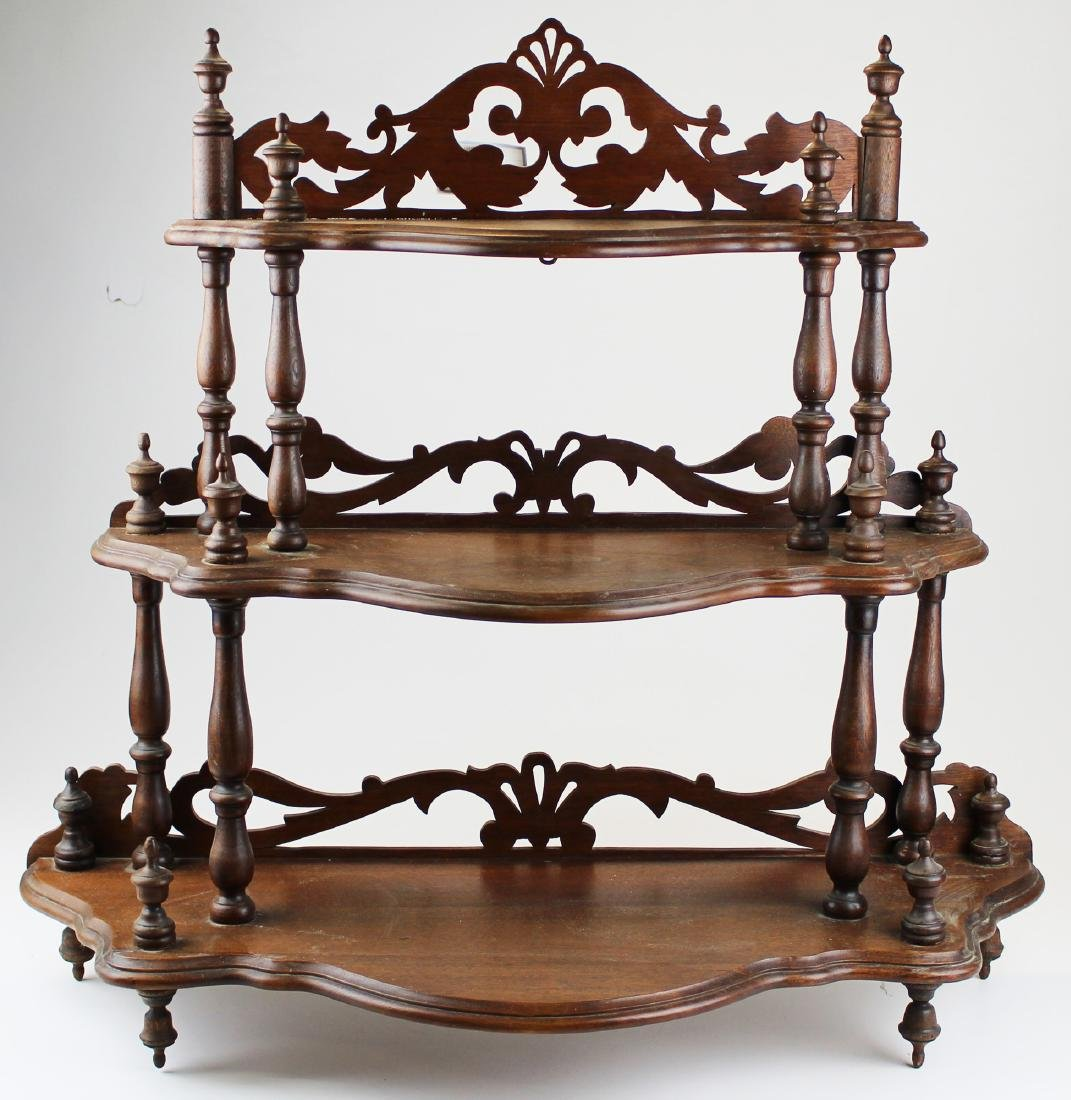 Victorian black walnut hanging what-not shelf