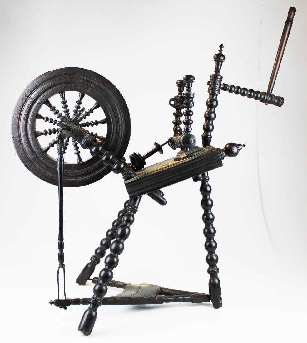 early 19th c flax wheel in old black paint