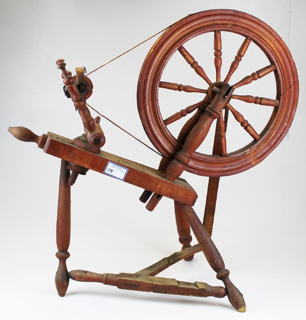 early 19th c flax wheel in old red paint