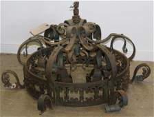 early 20th c wrought iron chandelier