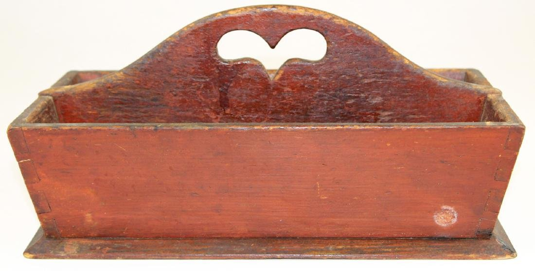 mid 19th c knife box in old red enamel paint
