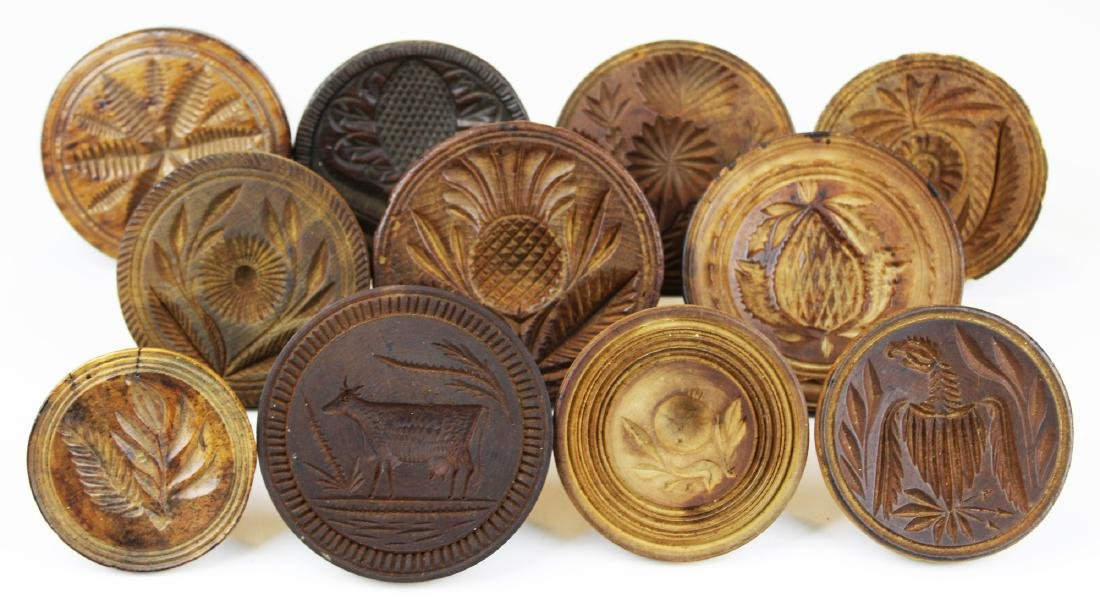 mid 19th c carved wooden butter molds