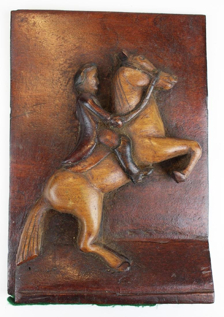 19th c carved wooden horse & rider