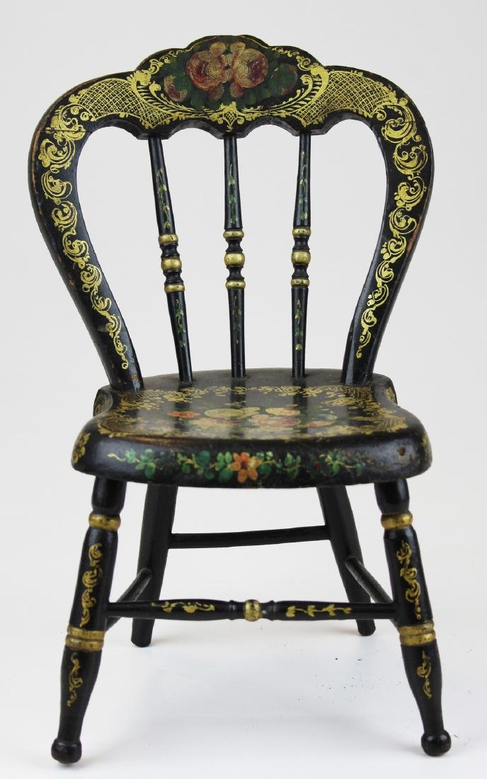 miniature 19th c Victorian decorated doll's chair