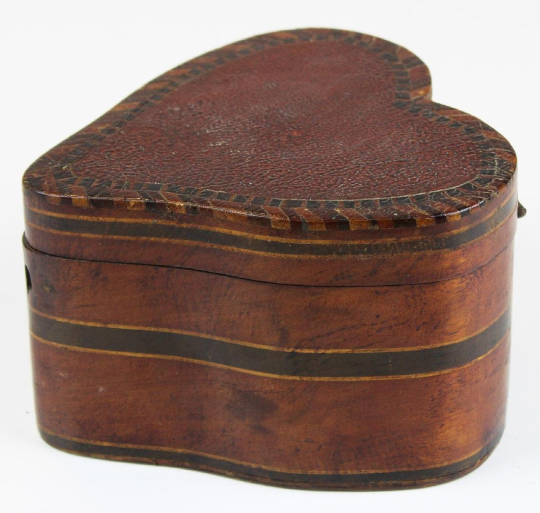 unusual 19th c heart shaped valuables box
