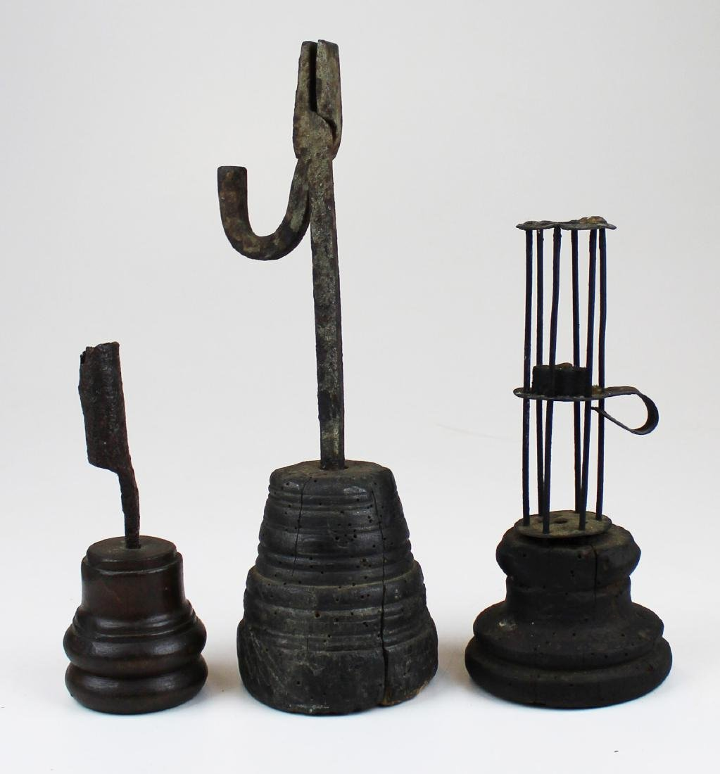 three early wrought iron lighting implements