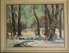 Ruth S Cousins Am 20th c Winter Landscape