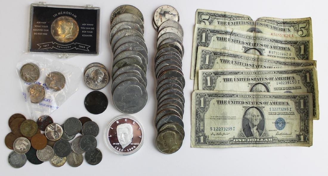 lot of mixed American coins and currency