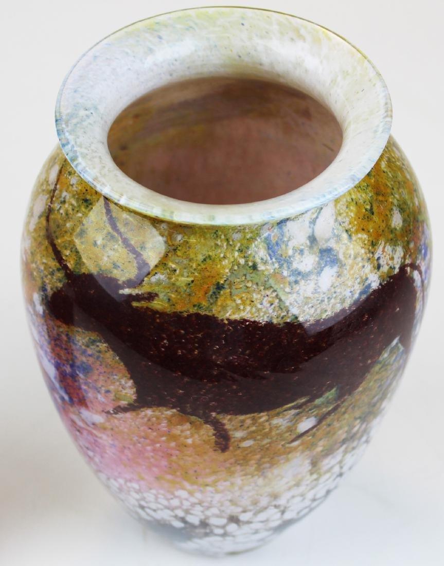 Richard Satava bull & deer decorated vase