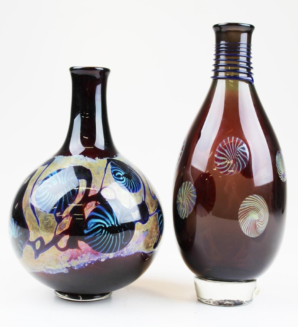 Two studio art glass vases