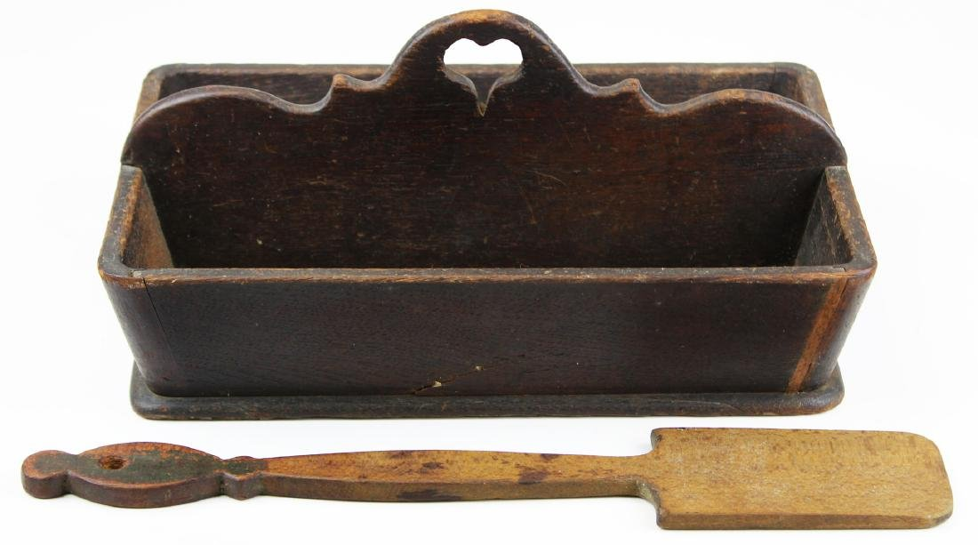 late 19th c knife box with heart-shape handle