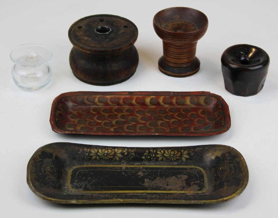 three early 19th c inkwells & sander