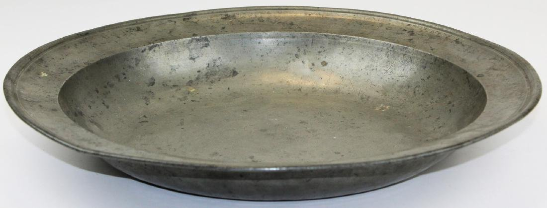 19th c Townsend & Compton pewter basin