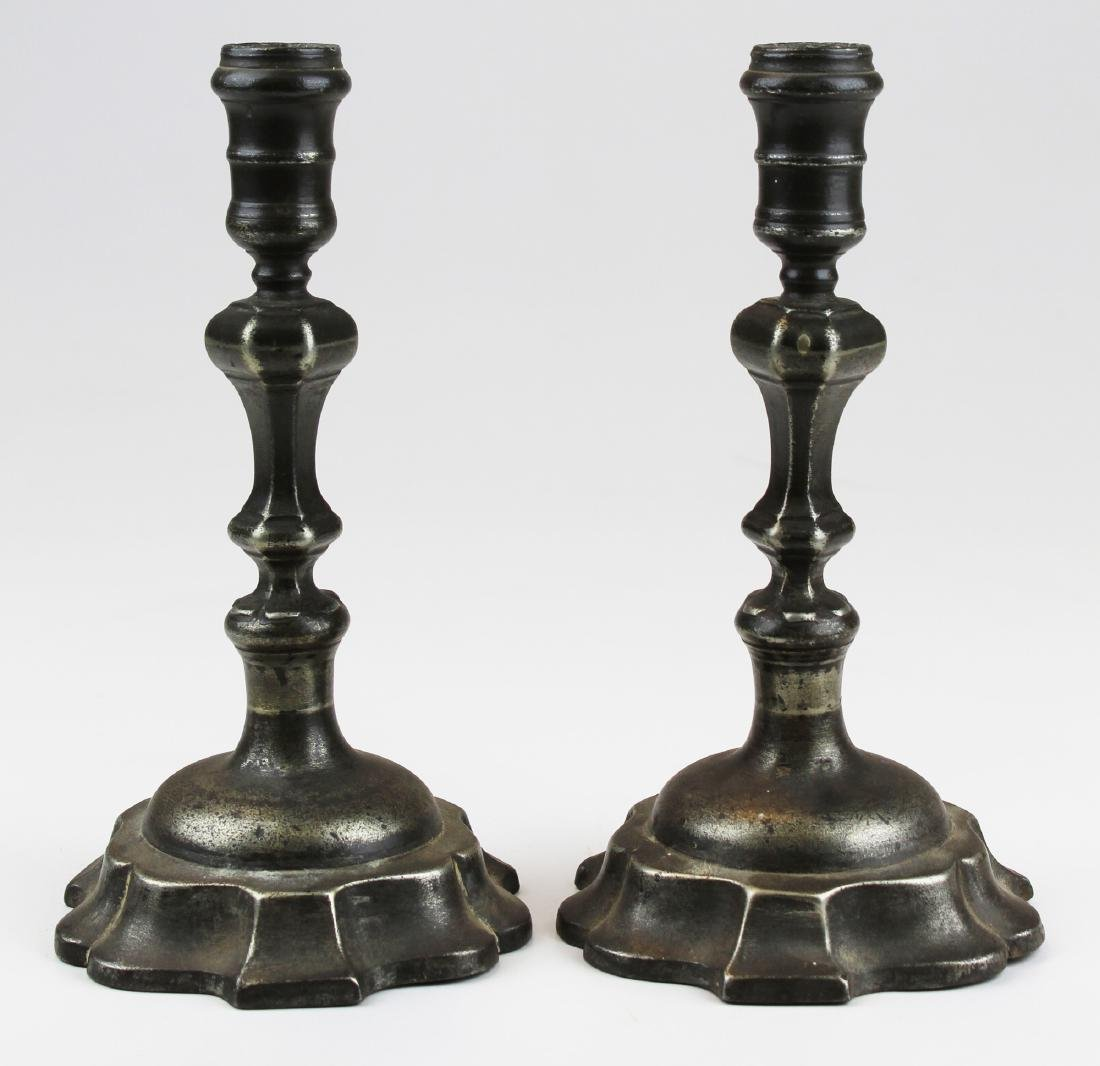 pr of 19th c Continental pewter candlesticks