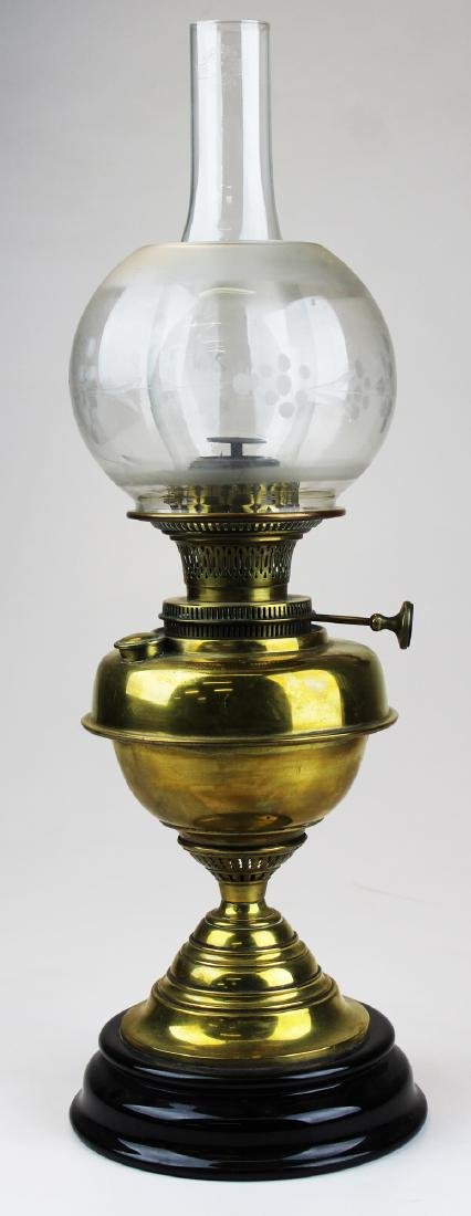 late 19th c fluid lamp with brass font