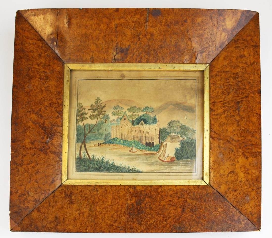 early 19th c primitive watercolor in burl frame