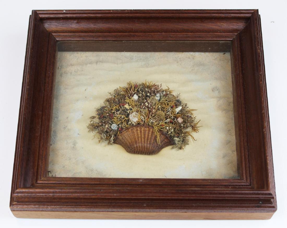 mid 19th c sailor's valentine basket of shells