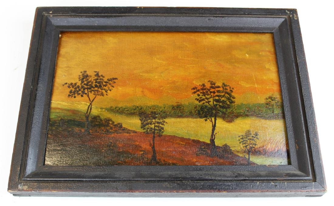 early 19th c oil on wooden panel landscape