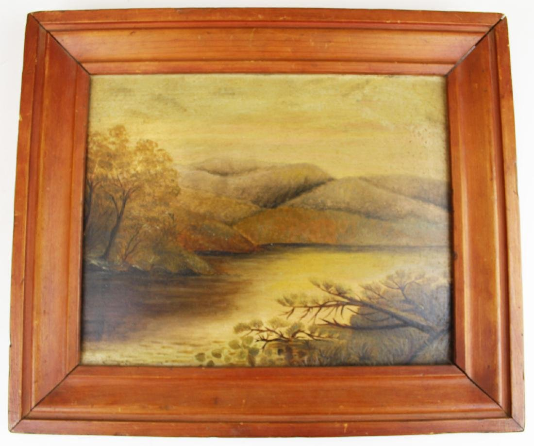 mid 19th c oil on academy board landscape
