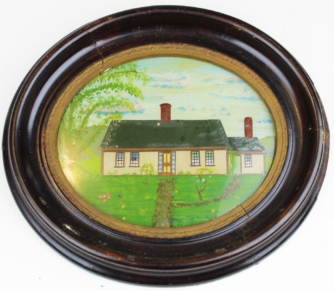 mid 19th c primitive reverse painting on glass