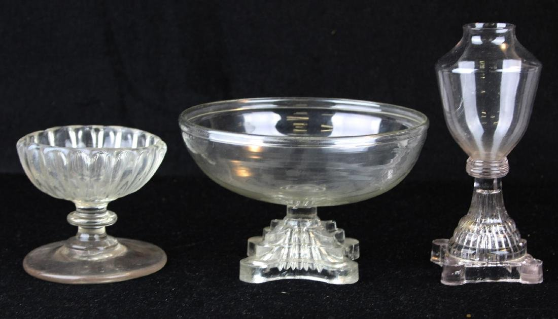 three early free-blown glass tableware pieces