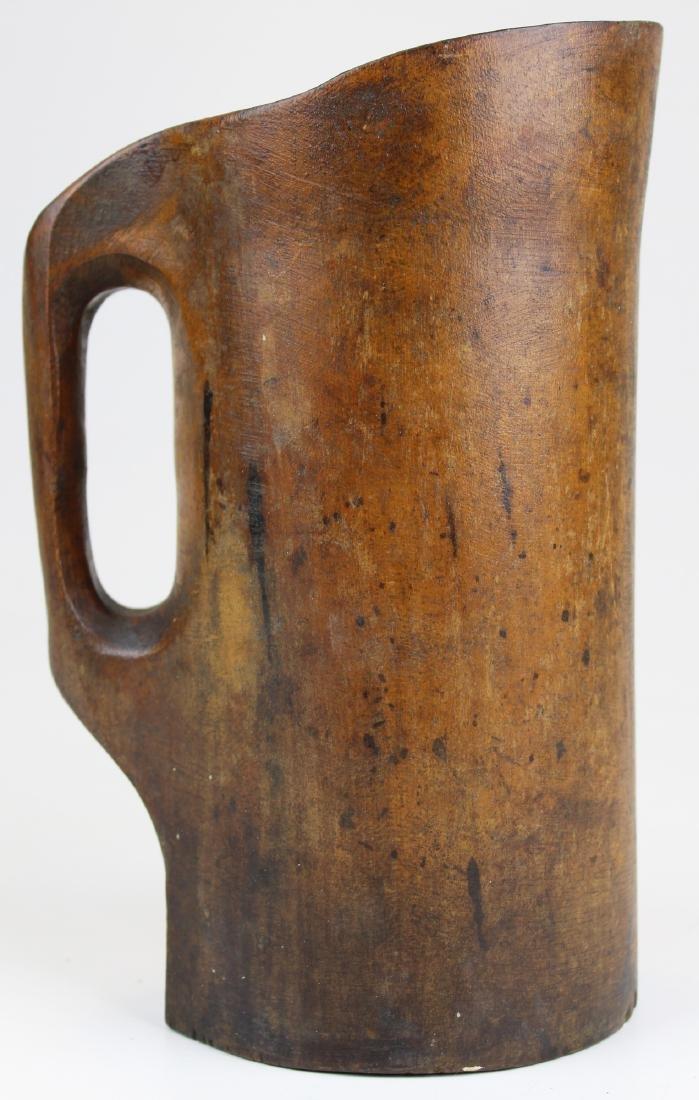 19th c treenware noggin pitcher