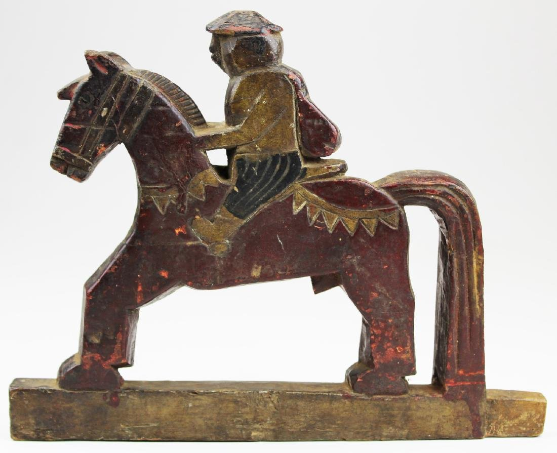early 19th c carved & painted horse & rider