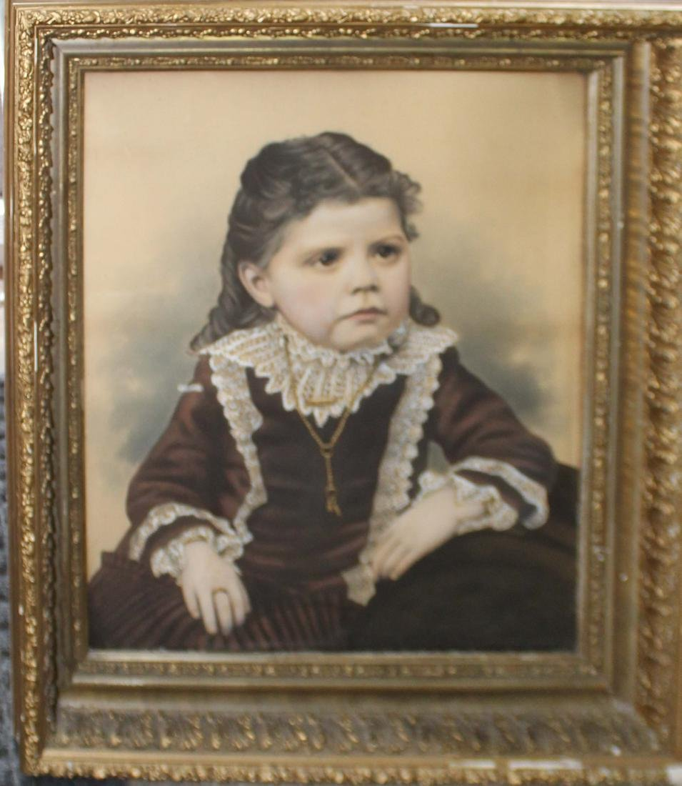19th c Photo process portrait of a young girl