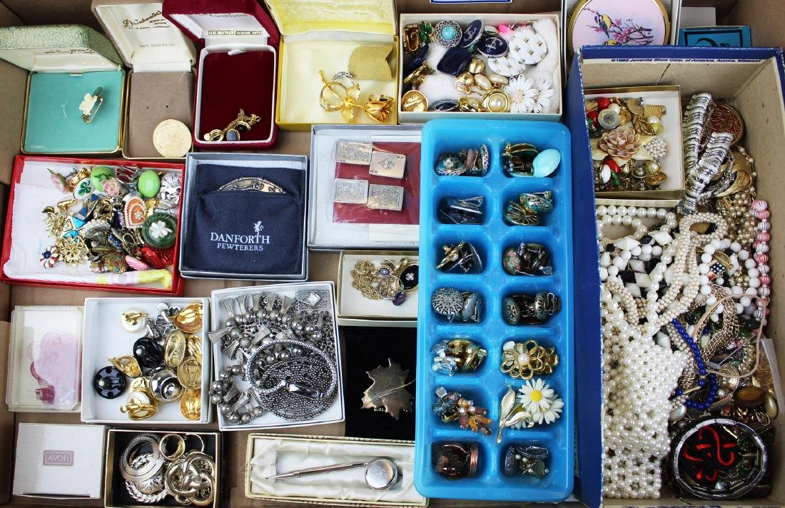 large lot costume jewelry incl. pins, necklaces