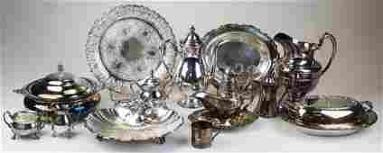 14 pcs silver-plated hollowware incl. tea set