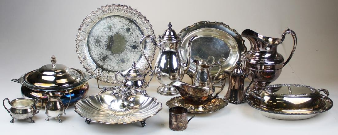 14 pcs silver-plated hollowware incl. tea set