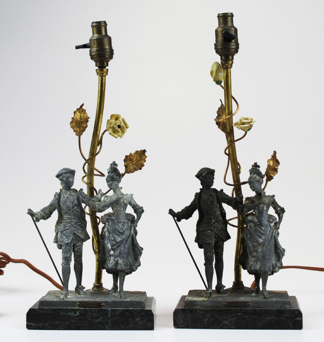 pr. French figural metal and marble boudoir lamps