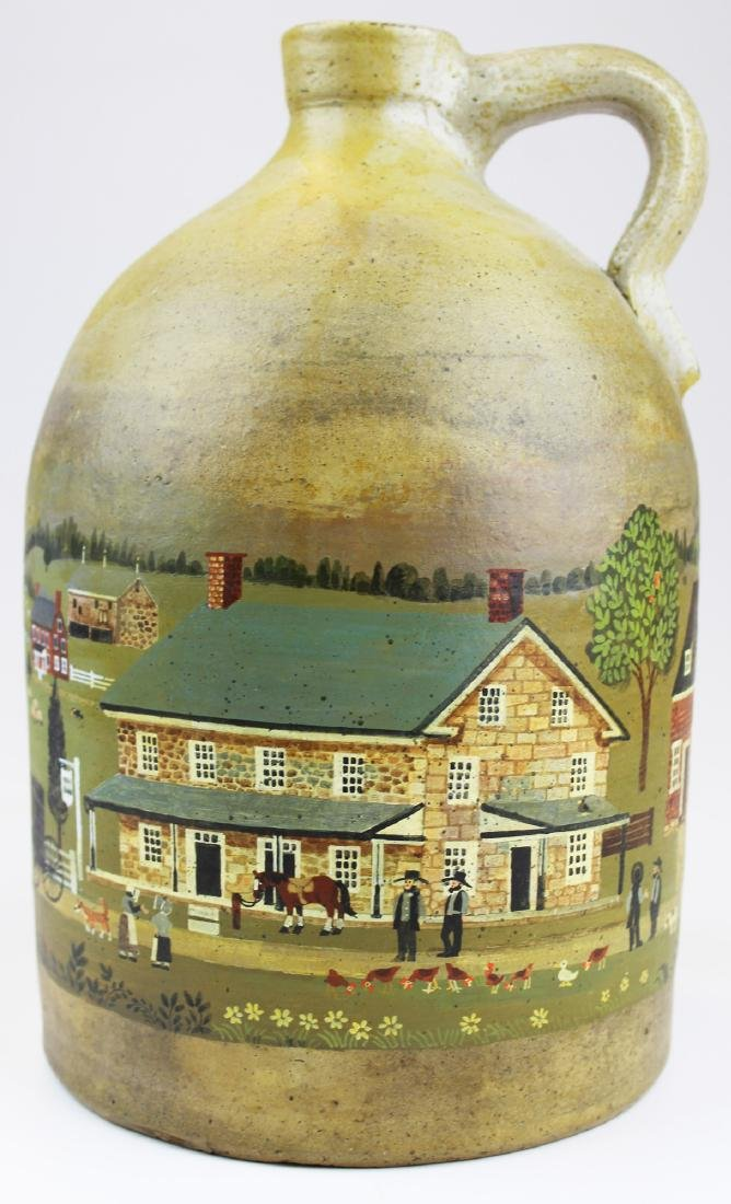 Davison M Welch folk art painted jug