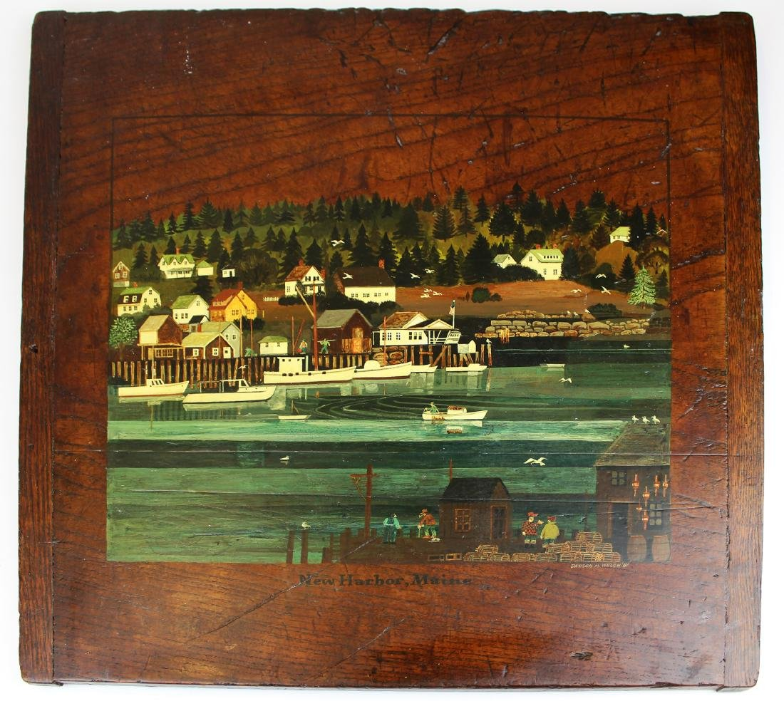 Davison M Welch folk art painted breadboard
